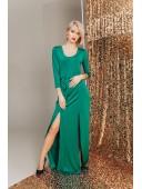 Вечернее платье с разрезами изумрудное