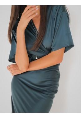 Блуза на запах шелковая изумрудная