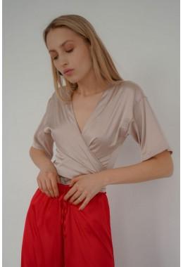 Блуза на запах шелковая бежевая