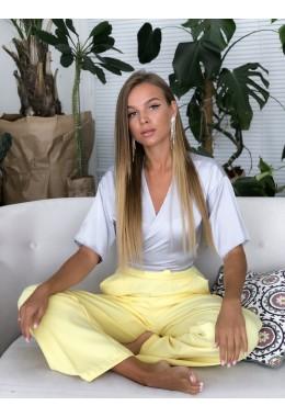 Блуза на запах шелковая серая