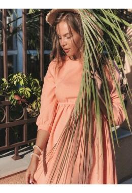 Коралловое стильное платье