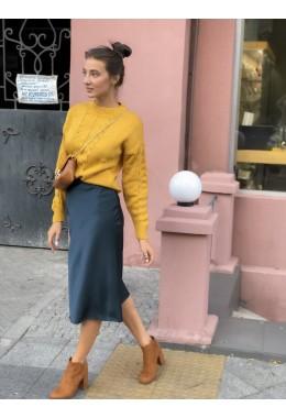Утонченная юбка изумрудного цвета