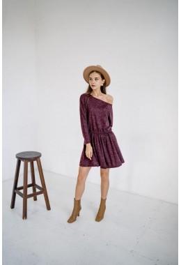 Милое платье из ангоры в бордовом цвете