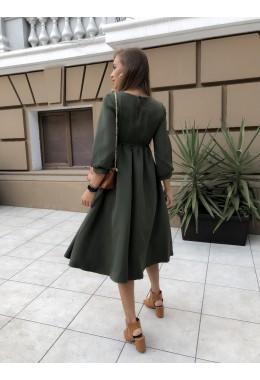 Сдержанное платье миди длины хаки