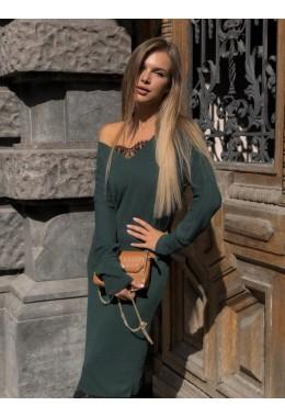 Теплое платье с кружевом цвета бутылка