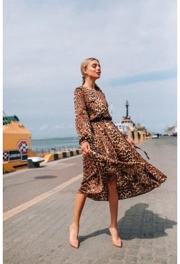 Платье ленточки в принте коричневый лео