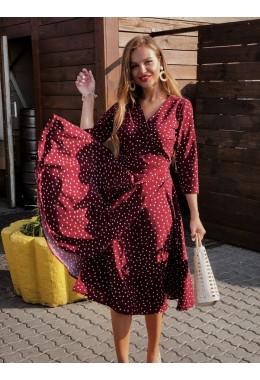 Платье-халат на запах цвета марсала