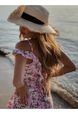 Романтический длинный сарафан в розовом