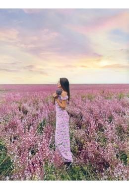 Романтический длинный сарафан в розовом цвете