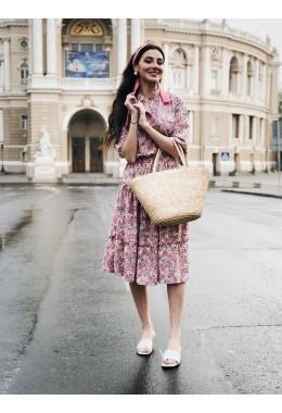 Платье планка розовое в цветочный принт