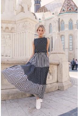 Платье в пол в горошек и полоску