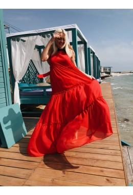 Шифоновое платье-двойка в пол красное