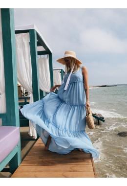 Шифоновое платье в пол голубое