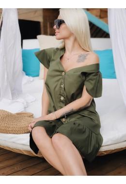 Легкое платье на пуговичках хаки