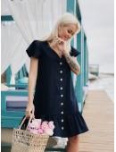 Легкое темно-синее платье из котона