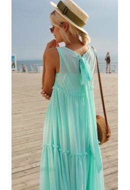 Шифоновое платье-двойка в пол мятное