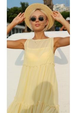 Шифоновое платье-двойка в пол желтое