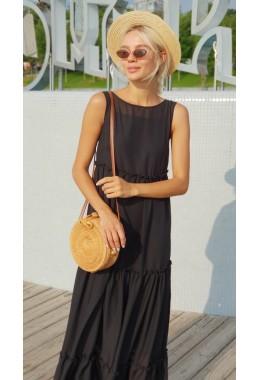 Шифоновое платье-двойка в пол черное