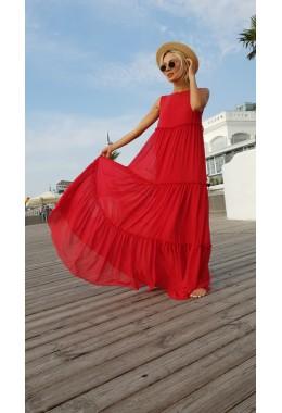 Шифоновое платье в пол красное