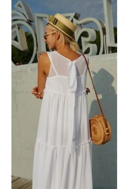 Шифоновое платье-двойка в пол белое