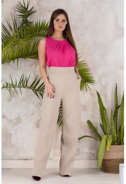 Модные брюки трубы бежевого цвета