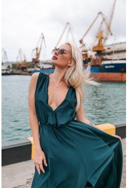 Шелковое платье в пол изумрудное