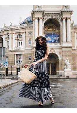 Платье в пол черно-белое