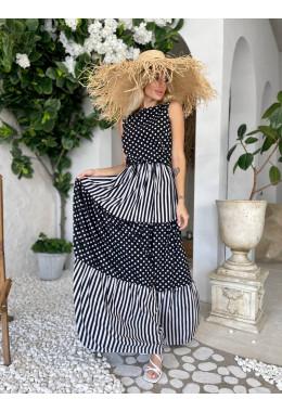 Платье в пол в горошек и полоску черное