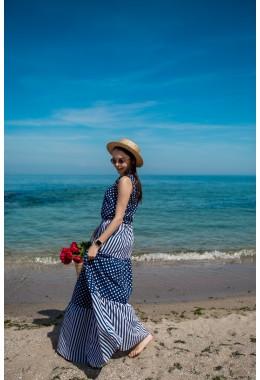 Платье в пол темно-синее в горох и полоску
