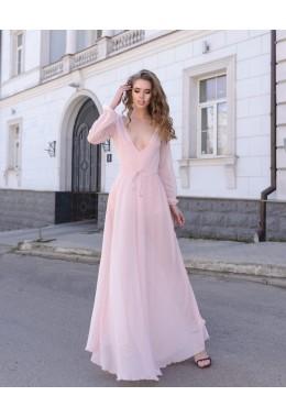 Вечернее платье Звездная пыль пудрового цвета