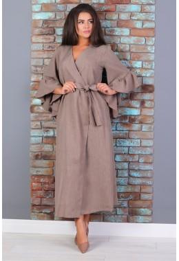 Платье-кимоно на поясе коричневого цвета