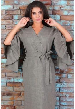 Платье-кимоно на поясе цвета хаки
