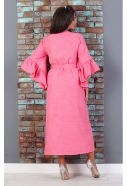 Платье-кимоно на поясе кораллового цвета