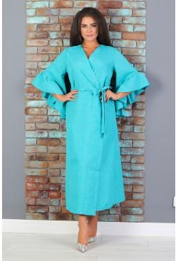 Платье-кимоно на поясе бирюзового цвета