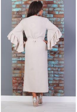 Платье-кимоно на поясе бежевого цвета