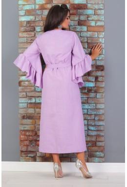 Платье-кимоно на поясе лавандового цвета