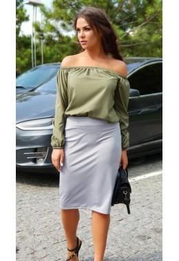 Блуза Однотон цвета хаки