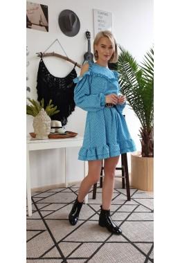 Платье с открытыми плечиками и рюшами