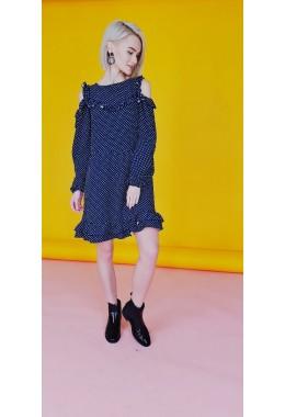 Платье с открытыми плечиками  темно-синее