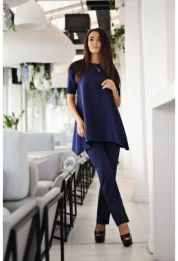 Костюм со свободной блузой темно-синий