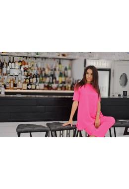 Костюм со свободной блузой розовый