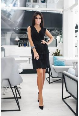 Платье гофре мини черное