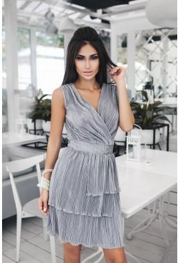 Платье гофре мини серебро