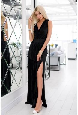 Платье гофре макси черное