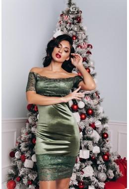 Вечернее бархатное платье оливкового цвета