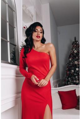 Вечернее красное платье в пол с разрезом