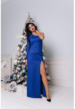Вечернее платье в пол с разрезом цвета электрик