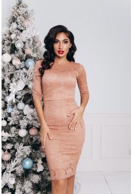Облегающее бронзовое гипюровое платье