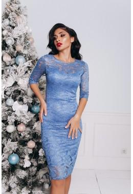 Облегающее синее гипюровое платье