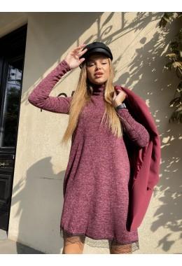 Свободное платье с кружевом бордовое